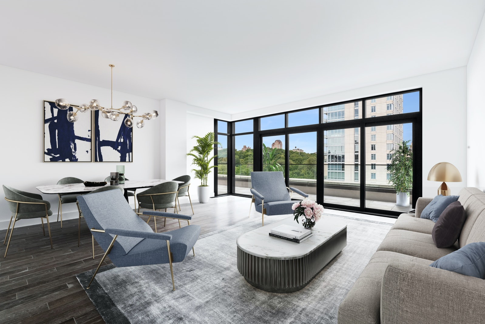 Please contact the sales team to schedule an in-person appointment or guided virtual tour. Summer Terrace Collection Incentive - sponsor is offering a $150,000 credit on this unit for a contract signed by July 31,2020. All showings are By Appointment Only, including Open Houses. Penthouse B at 10 Lenox is the perfect home for how we live today, encompassing 1,748 interior square feet, plus a glorious 760-square-foot wrap-around terrace. The spacious living room and secluded master bedroom offer commanding views of Central Park and have direct access to the terrace. The home boasts two additional bedrooms, two full baths, plus a chic powder room, and a gracious entry foyer with a large custom niche, perfect for dropping off shoes, and masks. Situated on semi-private floor with only one other residence, this home is the ultimate in privacy.Residences at 10 Lenox exude sophistication and ease with gracious floor plans, ceiling heights up to 9'-6, and beautiful elements such as white oak flooring in plank and herringbone patterns, and casement-style windows with expansive neighborhood views. All residences feature luxe details such as multi-zoned heating and cooling, pre-wiring for TVs and cable, a Bosch washer/dryer, and custom closet systems in all master suites.The kitchen is as functional as it is beautiful with countertops crafted from stunning slabs of honed Danby Fantastico marble, complemented by custom white lacquer cabinetry, a cool gray tile backsplash, and custom-paneled Bosch appliances including a speed oven and a 42-bottle under-counter wine refrigerator. A walk-in pantry and a custom-millwork bar area add to the copious amounts of storage.The elegant master bath is swathed in brilliant Bianco Sivec marble walls and radiant heated floors, with an accent wall of Lais Gray marble mosaic. A custom walnut vanity is graced by polished chrome fixtures by Waterworks.The second bath is chic and refined with classic white subway tile walls and heated porcelain tile floors. A custom walnut vanity with bronze metal detailing and a deep soaking tub by Duravit are accented by a suite of Waterworks fittings and fixtures.The powder room is a true work of art, with herringbone-patterned oak floors, a beautiful accent wall of silver brown travertine stone, complemented by Designtex wallcovering and a Waterworks washbasin.10 Lenox is a collection of 29 exquisite residences finely crafted by premier design firm Fogarty Finger. Both modern and classic in its details, this stately, eight story, brick and cast stone building looks out onto the lush greenery of Central Park and reflects the storied legacy of its Harlem surroundings. Amenities include an expansive Rooftop Lounge with BBQ grill and outdoor kitchen, dining and lounge seating areas, a state-of-the-art fitness room, a sunlit children's playroom, private rooftop cabanas available for purchase, and stunning park views from its shared rooftop amenity space. Additional services include a part-time doorman and cyber doorman service, a building superintendent, bike storage, and storage units for additional cost.Immediate Occupancy. The complete offering terms are in an offering plan available from the Sponsor. File No. CD18-0161. Sponsor: 10 Lenox Development Ventures, LLC, c/o Level One Holdings, 221 West 37th Street, 5th Floor, New York 10018. Equal Housing Opportunity.