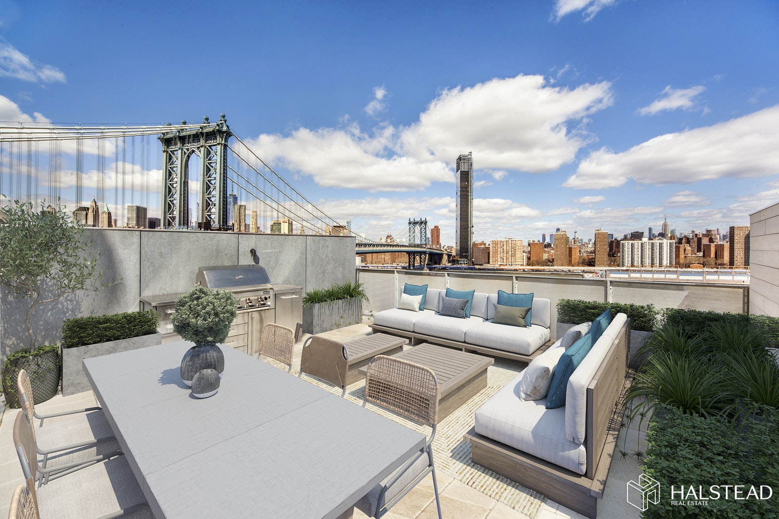 Absolutely stunning penthouse in DUMBO's premier, multi-award winning boutique condominium.This light-filled corner residence boasts 2,539 SF interior/ 700 SF exterior space. Light pours into this 4 bedroom, 3.5 bathroom penthouse from three exposures by 22 oversized, motorized windows. You will be transported as you watch the boats pass by on the river with the Empire State Building and the Manhattan and Williamsburg bridges in view.There is also an option to purchase the apartment just below to create the ultimate in luxury, a duplex penthouse totaling 5,176 SF. Architect plans that illustrate various combination are available by request.This is the perfect home for entertaining with its generous open layout, integrated speakers throughout and a Creston lighting and shade system. The kitchen features a Basaltina stone counter, a wall of integrated full height Italian cabinetry by RiFRA with Gaggenau appliances, a Bosch dishwasher, vented ceiling hood and wine fridge. The living room is planked by a ventless eco-fireplace and sliding glass doors that completely open to a glass enclosed courtyard which offers the ultimate indoor-outdoor living experience.Travel up the courtyard stairs to your private roof deck complete with a gas grill and breathtaking views of the entire Manhattan skyline. Back downstairs, just beyond the entertaining space is currently a media room closed off by glass pocket doors, this can easily be converted to fourth bedroom. Journey pass the powder room, farther down the hallway to the private sleeping quarters. The master suite on the South/East corner features double exposures, a large outfitted walk in closet by California Closets and a spacious windowed bathroom with Dornbracht Fantini fixtures, white lacquer vanities, double shower heads and upgraded tile by Mutina. A laundry room complete with an LG washer and vented drier, two more generously sized and bright bedrooms complete the wing - one bedroom has a full bathroom across the hall and the other has an en-suite bath that is also outfitted with tiles by Mutina.Amenities include 24/7 doorman, lobby lounge with indoor and outdoor seating, gym designed by la Palestra, landscaped roof terrace with grill, bike storage and the prestigious LEED Gold Certification. Additional Storage and a parking spot around the block is also available for purchase.Showings by private appointment.